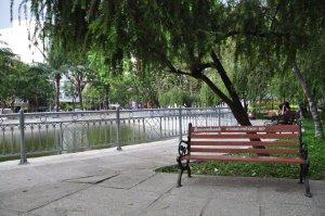 salah satu taman di tengah kota yang ramai